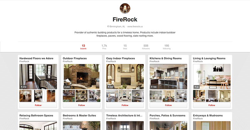 FireRock Pinterest Account Image